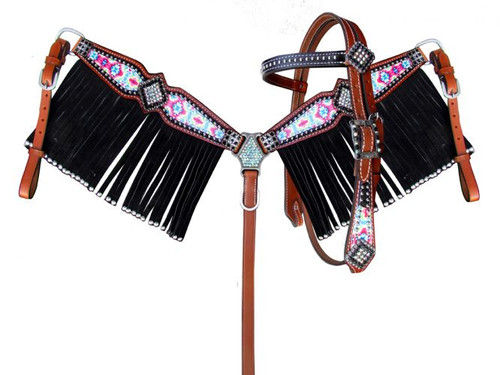 Showman ® Pony Size Pyschedelic Tie Dye browband headstall and breast collar set with black suede leather fringe.