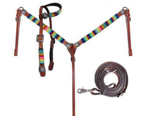Showman ® Rainbow Beaded Headstall and Breastcollar Set.