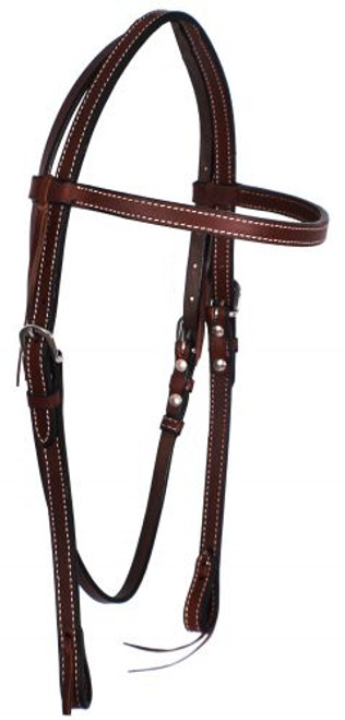 Showman ® Dark Brown, Double Stitched Browband Leather Headstall.