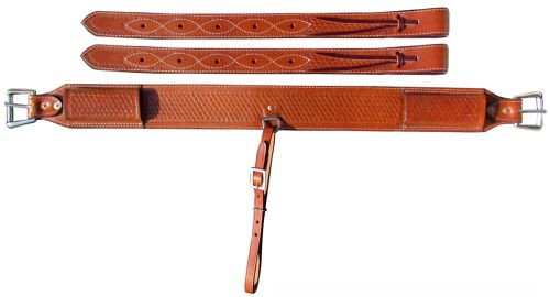 "Showman ® 3"" wide Basketweave Tooled Leather back cinch."