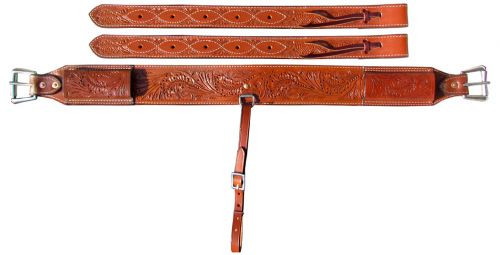 """Showman ® 3"""" wide Accorn Tooled Leather back cinch."""