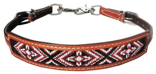 Showman ® Medium leather wither strap with red beaded cross design inlay.