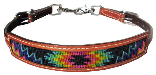 Showman ® Medium leather wither strap with rainbow navajo design inlay.
