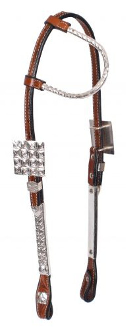 Showman ® Tooled Argentina cow leather show headstall with silver ear.
