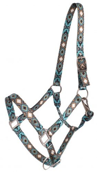 Showman® Premium Nylon Horse Sized Halter with Cross and Diamond Design