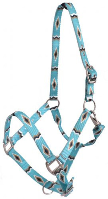 Showman® Premium Nylon Horse Sized Halter with Turquoise and Gold Diamond Design.