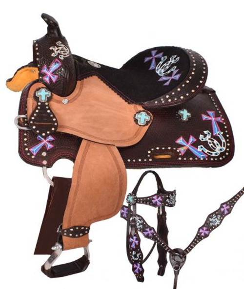 "12"" Double T youth barrel style saddle set with hand painted cross and horseshoe design."