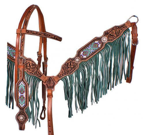 Showman ® Medium leather headstall and breastcollar set with beaded inlay and turquoise suede fringe.