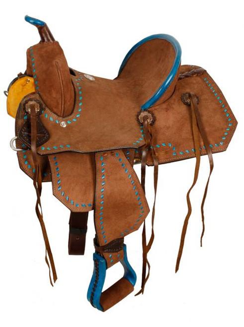 "13"" Double T  Youth/Pony Chocolate Roughout Barrel Saddle."