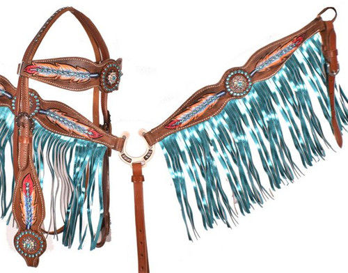 "Showman ® ""Light as a Feather"" browband headstall and breast collar set."