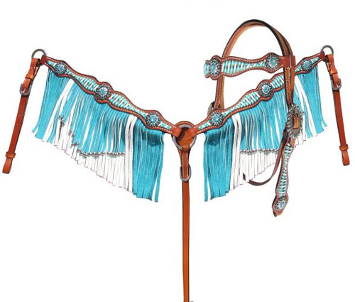 Showman ® Turquoise and White leather laced browband headstall and breast collar set.