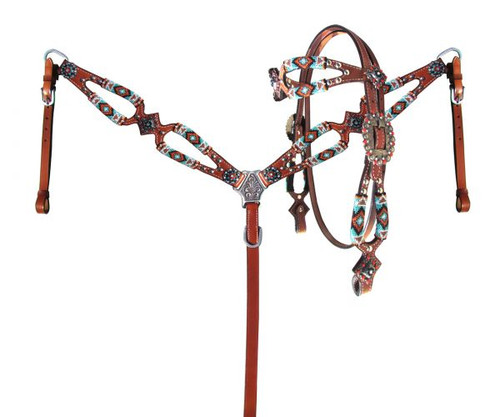 Showman ®  Turquoise and Orange beaded browband headstall and breast collar set.