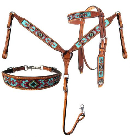 Showman® Argentina Cow Leather Headstall and breast collar 3 piece set with aztec beaded inlay.