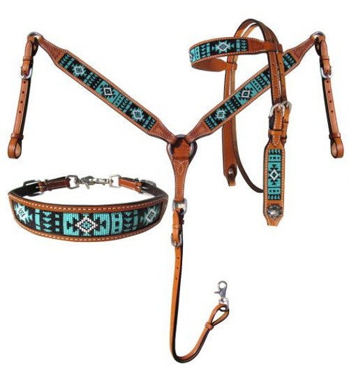 Showman® Argentina Cow Leather Headstall and breast collar 3 piece set with turquoise aztec beaded inlay.