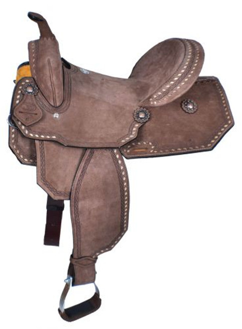 """15"""" Double T  Chocolate Brown Roughout Barrel Style Saddle."""