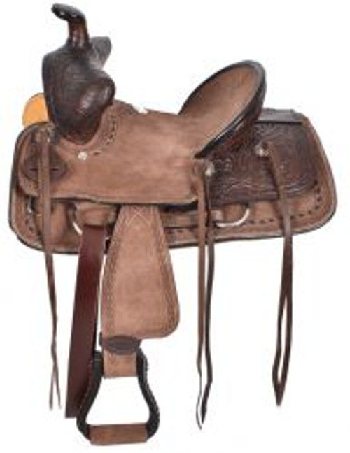 """12"""", 13"""" Double T  Youth Chocolate Brown Hard Seat Bear Trap Style Saddle."""