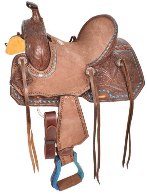 "10"" Double T  Youth hard seat roping style saddle."