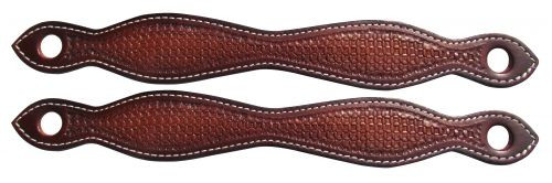 Showman ® Basketweave tooled leather slobber straps.
