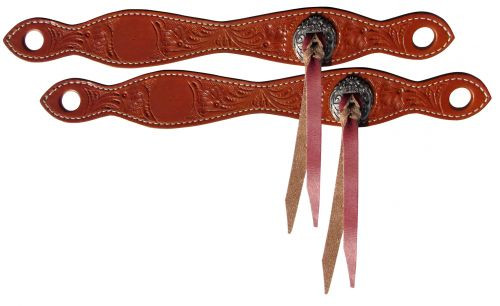 Showman ®  Accorn tooled leather slobber straps.