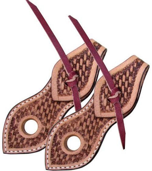 Showman ®  Basketweave tooled light leather slobber straps.