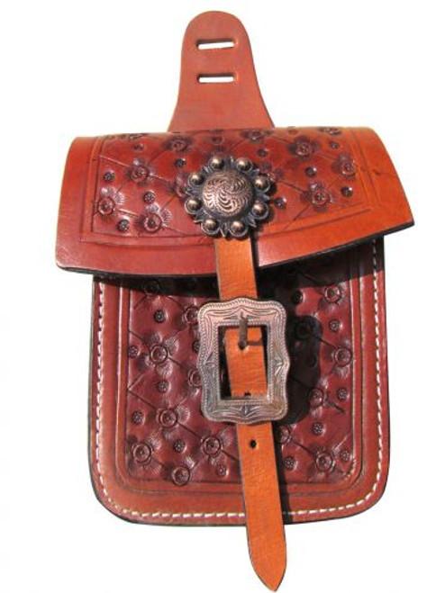 Showman ® Floral tooled saddle pocket.