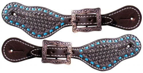Showman ® Youth leather spur straps basketweave tooling.