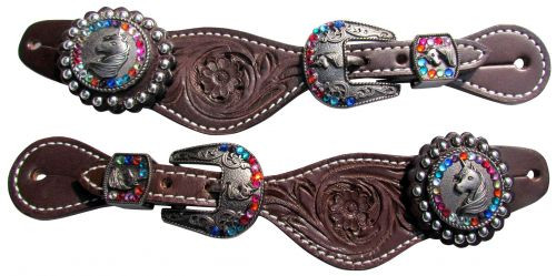 Showman ® Youth leather spur straps with floral tooling and unicorn conchos.
