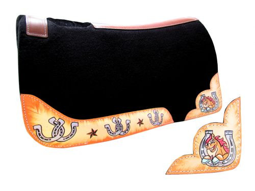 "Showman ® PONY SIZE 24"" x 24"" Smiling horse and horseshoe print felt pad."