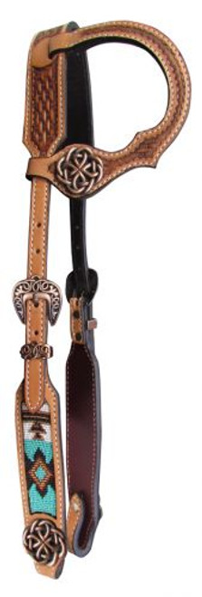 Showman ® Argentina cow leather single ear headstall with beaded inlay.