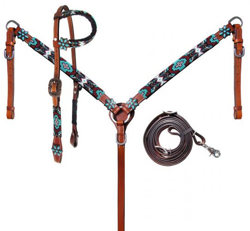 Showman ® Turquoise and Burgundy Beaded Aztec Headstall and Breastcollar Set.