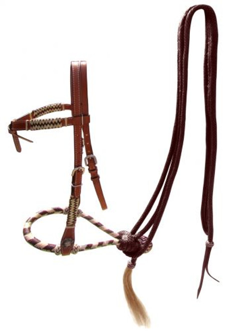 Showman ® leather futurity knot headstall with brown rawhide braided bosal and brown nylon mecate reins.