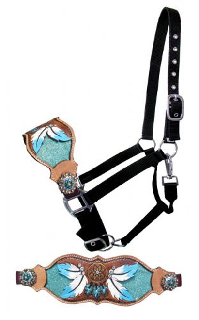 Showman ® FULL SIZE Leather bronc halter with teal dreamcatcher design.