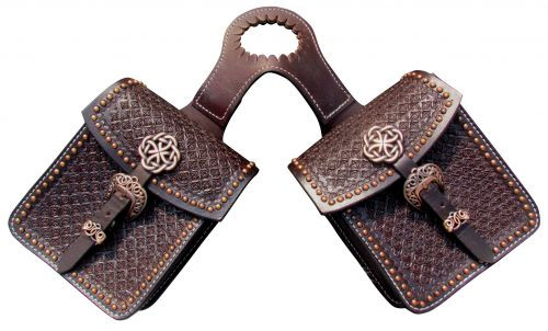 Showman ® Waffle tooled leather horn bag with copper accents.