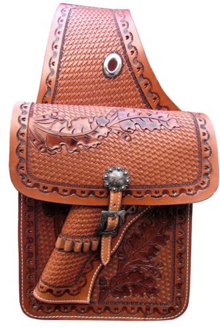Showman ® Basketweave tooled leather saddle bag with 22 caliber gun holster.