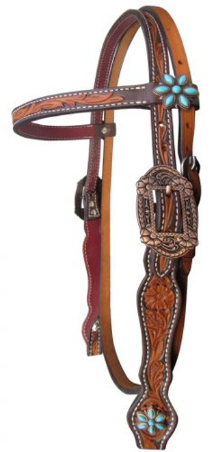 Showman ® Argentina cow leather browband headstall with floral tooling..