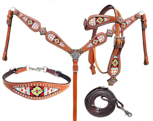 Showman ® Multi Colored beaded browband headstall and breast collar 4 Piece set.