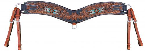 Showman ® Floral tooled tripping collar with beaded inlay.