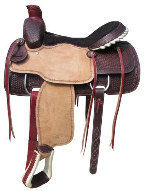 """16"""", 17"""" Circle S Roping Saddle with Basketweave and Barbwire Tooling."""