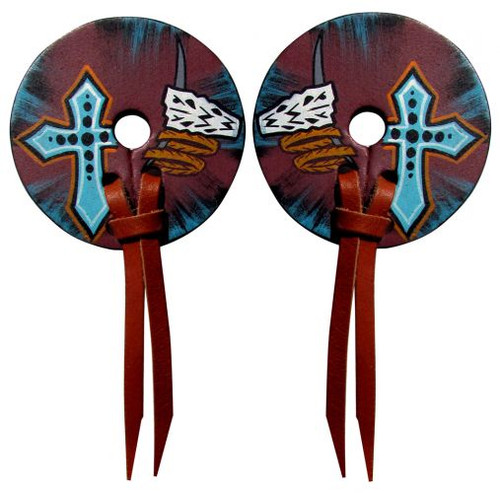 Hand Painted leather bit guards with distressed skull and cross design.