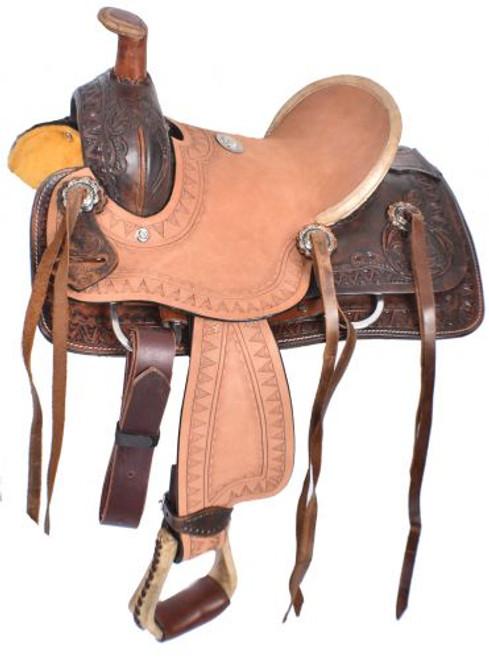 """10"""" Double T  Pony hard seat roper style saddle."""