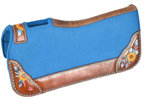 "Showman ® 31"" x 32"" x 1"" Turquoise felt saddle pad with hand painted sunflower, and star design."