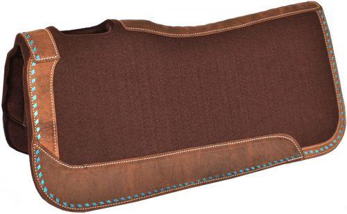 "Showman® 32"" x 31"" x 1"" Heavy Duty Brown felt saddle pad with turquoise buckstitch border."