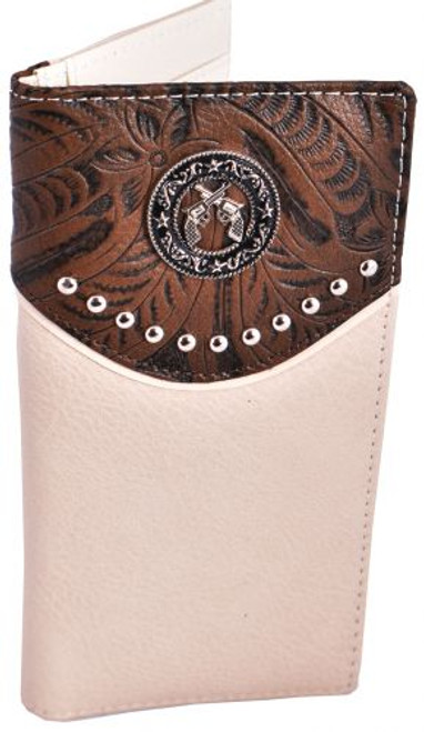 Men's tan smooth leather wallet.