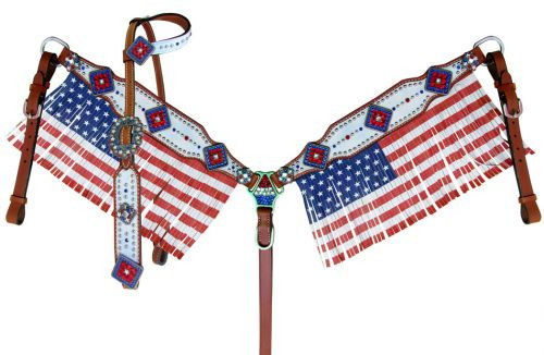 Showman ® American Flag fringed headstall and breast collar set.