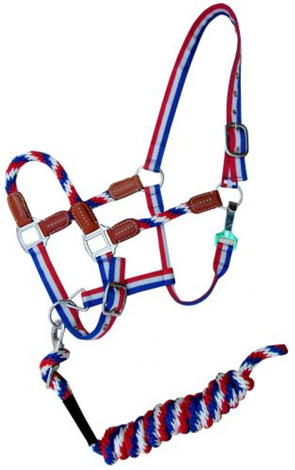 Showman ® Red, White, and Blue nylon halter with leather accents.