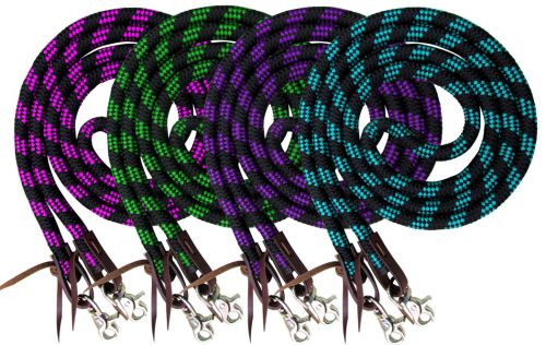 Showman ® 8ft braided nylon barrel reins with scissor snap ends..