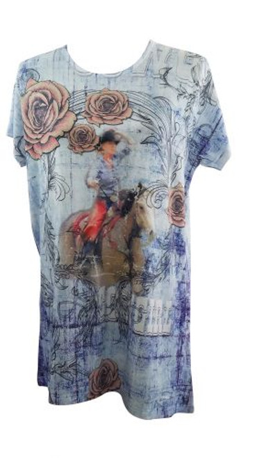 """Riding Into The Roses"" Round Neck T-Shirt."
