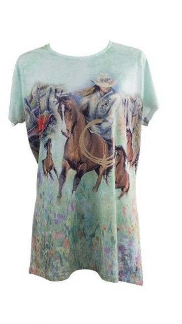 """""""Roping Cowgirl"""" Round Neck T-Shirt."""