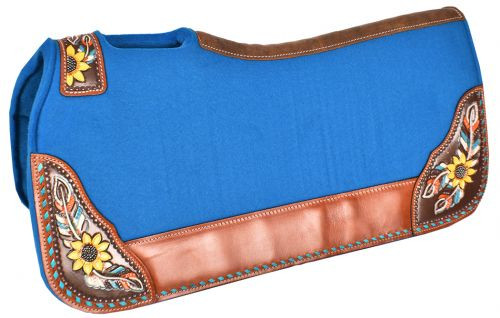 "Showman ® 31"" x 32"" x 1"" Turquoise felt saddle pad with hand painted sunflower and feather design."