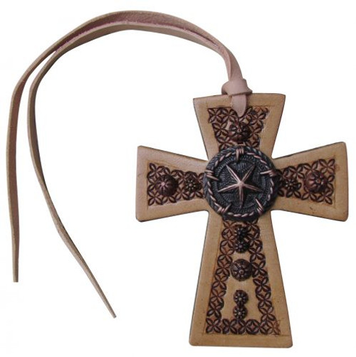 Showman ® Leather Tie On Cross with Texas Star Concho.